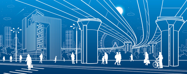 Business Center, city architecture. People walking at town street. Road crosswalk. Road bridge, overpass. Urban life. Vector design art