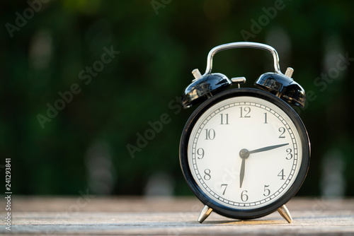 Retro Alarm Clock On Wooden Table Vintage Style Stockfotos Und