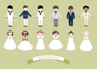 Collection of six children and six girls wearing First Communion clothes