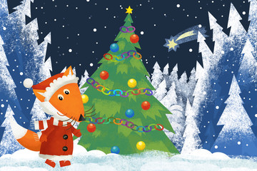 winter scene with forest animal little fox with santa claus hat in the forest with christmas tree - traditional scene - illustration for children