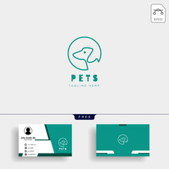 dog, cat pet care creative logo template with business card