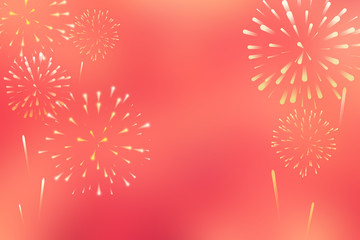 abstract group of fireworks explosion on red background with space for chinese happy new year celebrate 2019