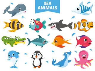 Vector Illustration Of Sea Animals