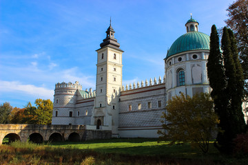 Krasiczyn, Poland - October 11, 2013: - beautiful renaissance palace in Poland. The castle has belonged to several noble Polish families. Has richly sculpted portals, loggias, arcades
