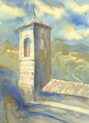 Watercolor landscape with a tower in Italy