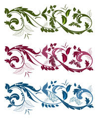 Fototapete - collection of swirling ornaments with floral elements for your d