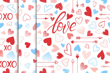 Collection of Valentines patterns with hearts,arrows and lettering.Romantic illustratiosn perfect for greeting cards,prints,flyers,holiday invitations and more.Vector Valentines Day seamless patterns.