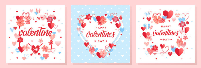 Collection of creative Valentines Day cards.Hand drawn lettering with hearts,arrows and flowers.Romantic illustrations perfect for prints,flyers,posters,holiday invitations and more.