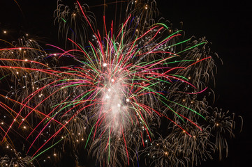 Multicolored bursts of fireworks.