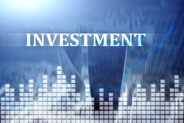 Investment, ROI, financial market concept. City background