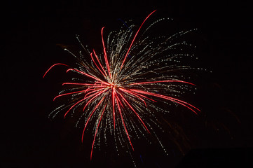 Colorful fireworks over dark sky, displayed during a celebration New Year.