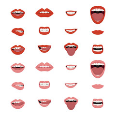 Mouths vector set. Mouths icon set. Vector.
