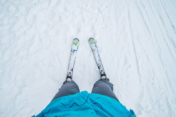 first-person view skiing. winter sport activity. outdoors