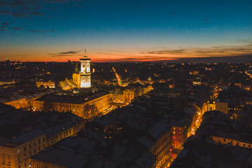 aerial view of sunset over old european town. winter time