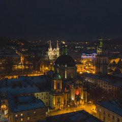 aerial view of old european churches at night time