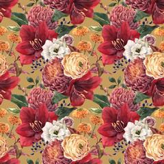 Papiers peints Fleurs Vintage Watercolor floral pattern