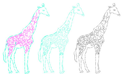a Vector giraffe silhouette, abstract animal illustration. Can be used for background, card, print materials - Images vectorielles 2019