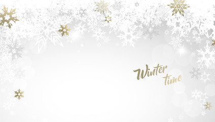 Christmas golden vector background illustration with snowflakes and Winter time text.