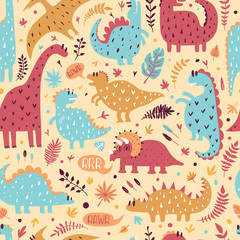 Seamless pattern of cute dinosaurs with tropical leaves. Hand drawn vector illustration. Cute dino design for kids.