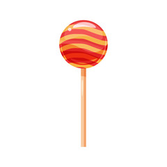 Lollipop, candy on a stick, sweet, color, round, vector, illustration, isolated, cartoon style
