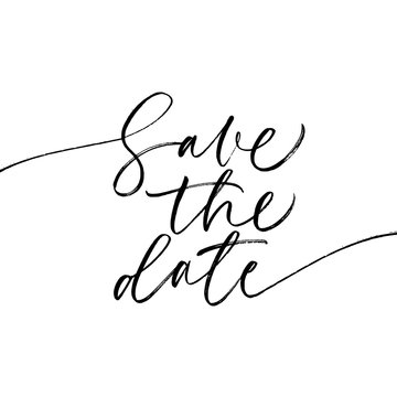 Save the date phrase. Hand drawn wedding vector calligraphy.