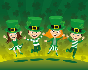 Kids jumping in costumes for St. Patrick's Day.