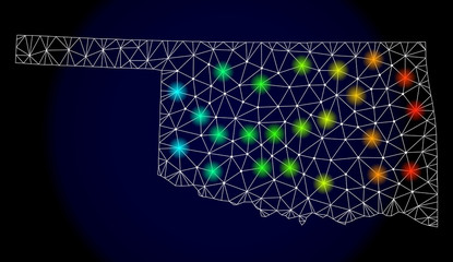 Mesh vector map of Oklahoma State with glare effect. Light spots have bright spectrum colors. Abstract lines, triangles, light spots and points on a dark background with map of Oklahoma State.