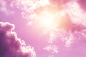 Creative background, pink, fluffy, vanilla clouds. The concept of lightness, magic, magic, fairy...