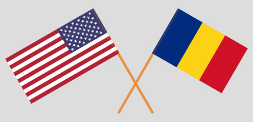 Romania and United States of America. The Romanian and USA flags. Official proportion. Correct colors. Vector