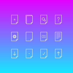Vector illustration of 12 document icons line style. Editable set of download, web, empty and other icon elements.