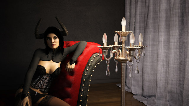 3d Illustration of a horned woman wearing black sitting on a red settee in a room with a floor chandelier and drapes.