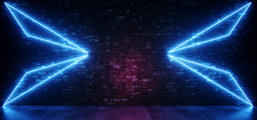 Retro Sci Fi Neon Futuristic Abstract Glowing Blue Triangle Lights On Grunge Empty Brick Wall With Concrete Reflection Floor Background Club Laser 3D Rendering