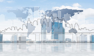 Concept of global communication and networking with world map over cityscape