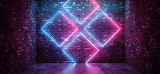 Sci Fi Futuristic Retro Modern Elegant Abstract Rectangle Crossed Neon Shapes Glowing Purple Blue Pink On Grunge Brick Wall Club Stage Concrete Floor 3D Rendering