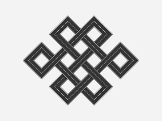 Black Road in the form of a figure endless knot - Shrivatsa. Karma abstract concept road map view quadcopter. Vector illustration highway texture