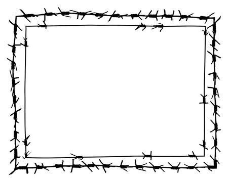 Black barbed wire vector rectangular frame. Metal fence illustration isolated on white background. Graphic military border object