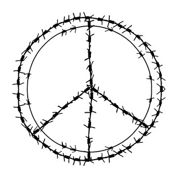 Black barbed wire vector round peace symbol. Metal circle pacifism sign  illustration isolated on white background. Graphic military border object