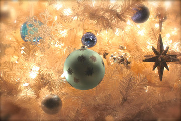 christmas background with balls and stars and white leafs- images