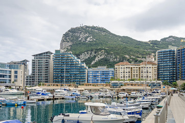 Strait and Rock of Gibraltar and the Ocean Village
