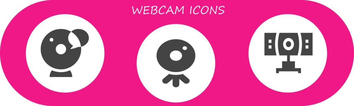 Vector icons pack of 3 filled webcam icons