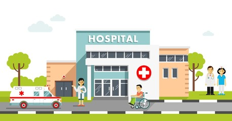 Medical concept with hospital building and doctor in flat style. Panoramic background with hospital building, doctors, nurses, disabled man in wheelchair and ambulance car in flat style