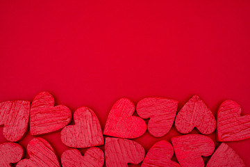 Red hearts postcard valentines day.