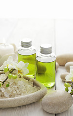 SPA still life with bath minerals, essential oils and aromatherapy candles