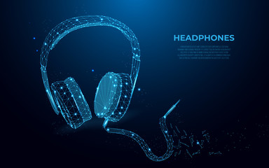 Headphones. Abstract image of a headphones in the form of a starry sky or space, vector wireframe concept. Creative Music concept. Polygonal style. Technology background