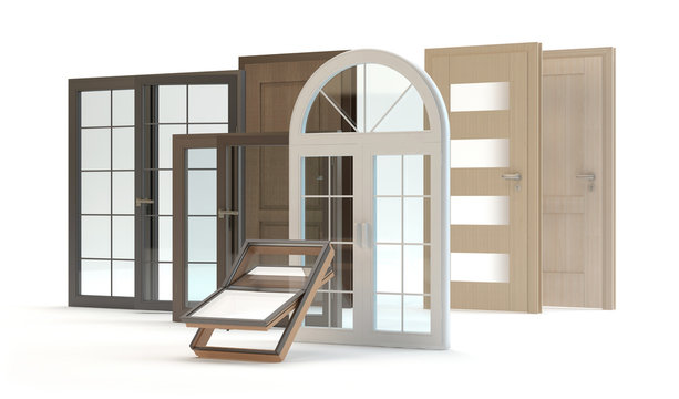 Windows and doors, 3d illustration