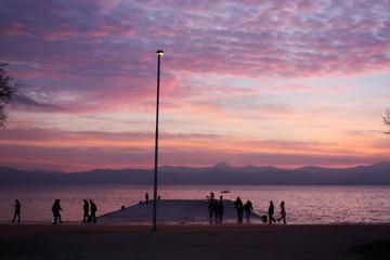 Sunset in December. Adriatic Sea. Zadar. Croatia 2018.