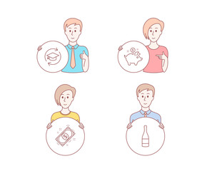 People hand drawn style. Set of Saving money, Payment and Continuing education icons. Champagne bottle sign. Piggy bank, Finance, Online education. Anniversary alcohol.  Character hold circle button