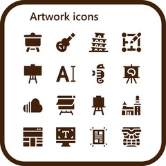 Vector icons pack of 16 filled artwork icons