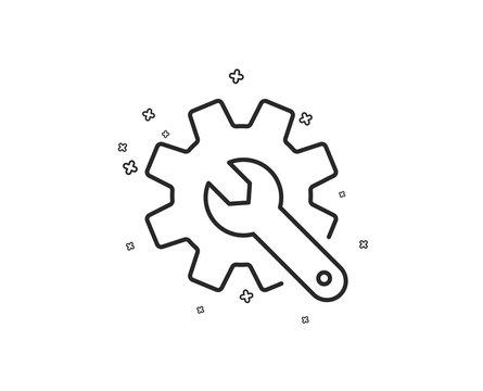 Customisation line icon. Settings or editing sign. Repair symbol. Geometric shapes. Random cross elements. Linear Customisation icon design. Vector