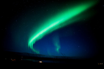 Northern lights on a night in Iceland.